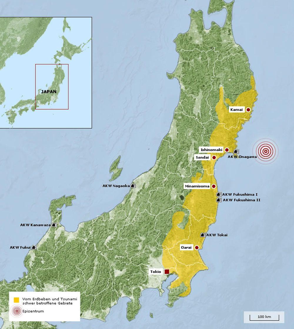 Karte stark betroffene Erdbebengebiet und Tsunamigebiet