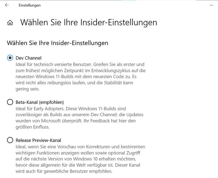 »Insider«-Einstellungen auf einem Windows-PC