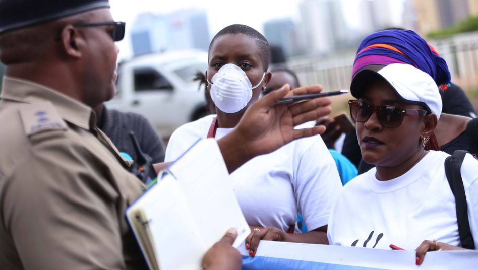 Demonstrators in Nairobi demanding better masks to protect against coronavirus