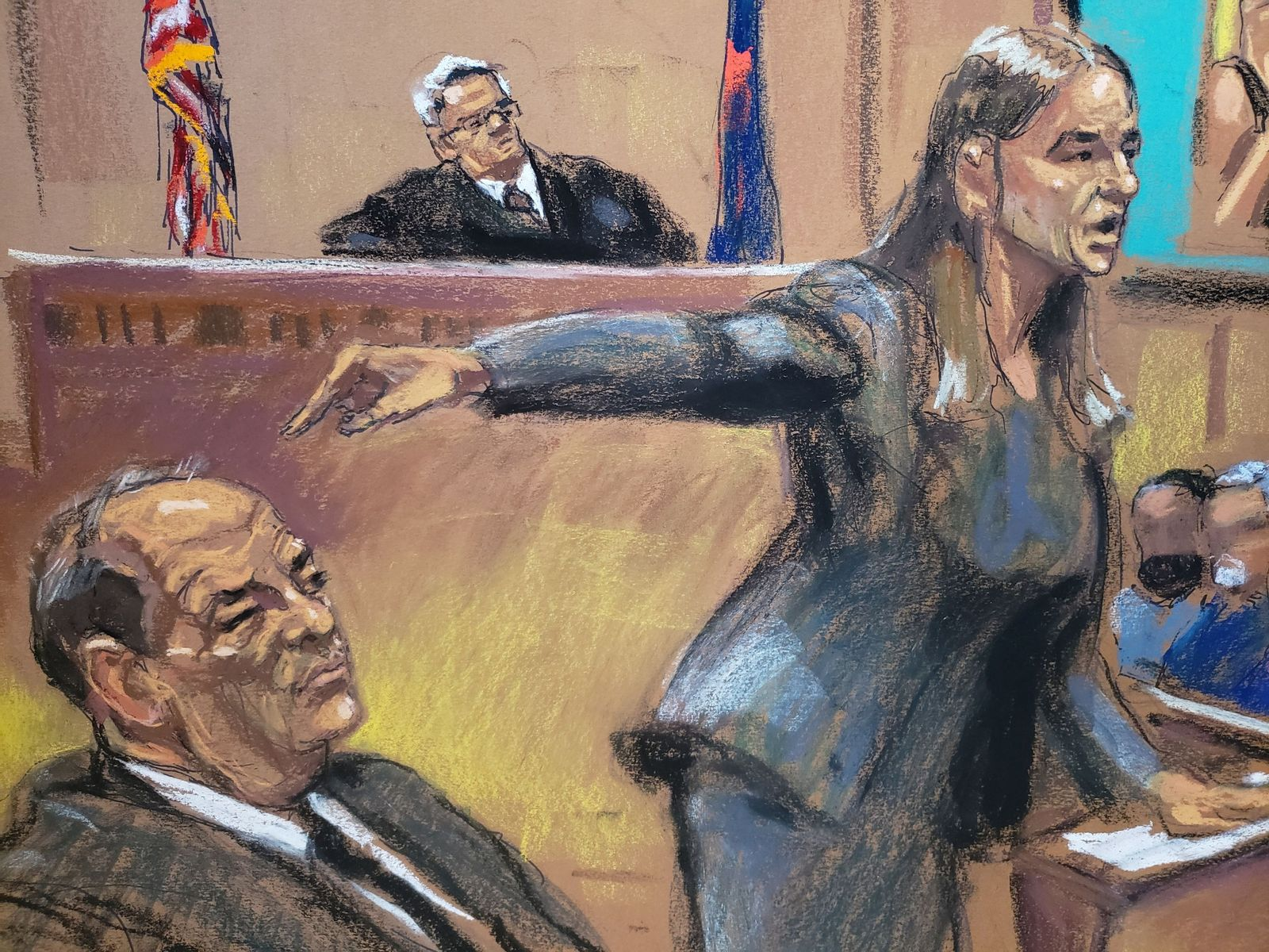 Assistant District Attorney Meghan Hast points at Harvey Weinstein during his sexual assault trial