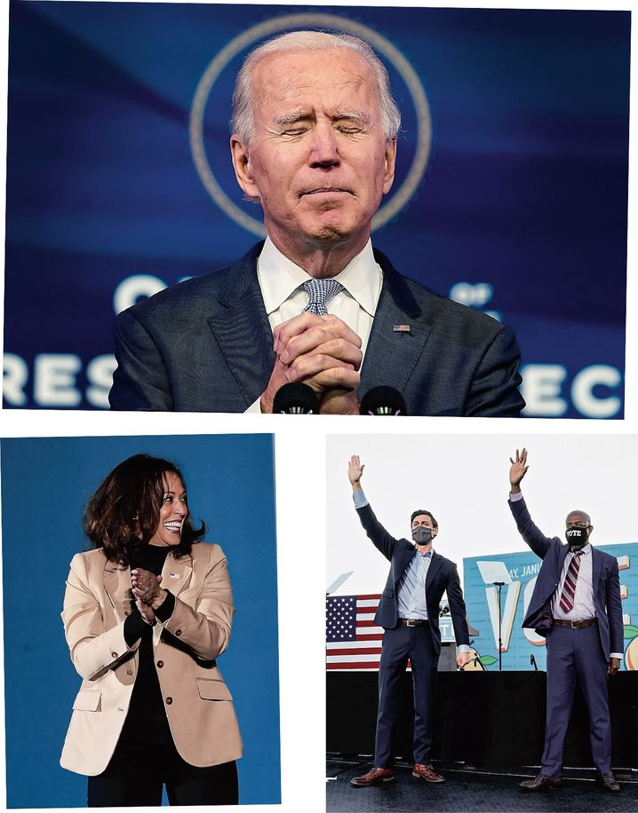 The look of victory: The success of Democratic Senate candidates Ossoff and Warnock (right) in Georgia will make it easier for Biden and incoming Vice President Harris to govern.