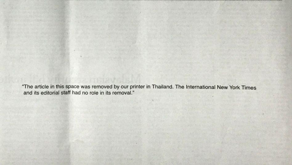 """New York Times: """"Die Redaktion hat bei der Zensur keine Rolle gespielt."""""""