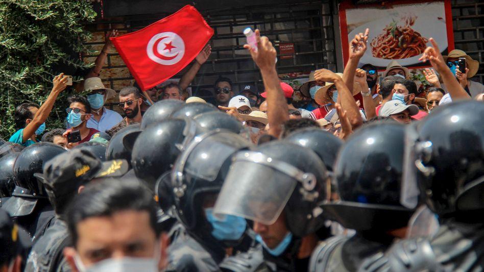 Demonstration in Tunis am Sonntag