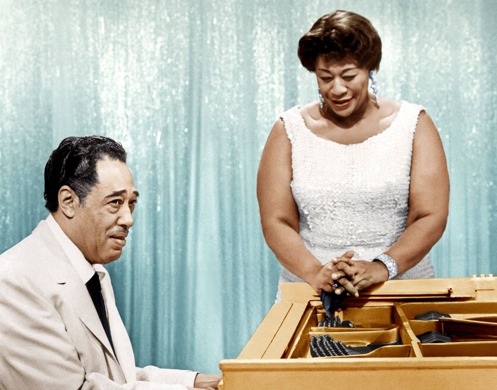THE BELL TELEPHONE HOUR, from left: Duke Ellington, Ella Fitzgerald, (aired February 10, 1959), 1959-68. Courtesy Evere