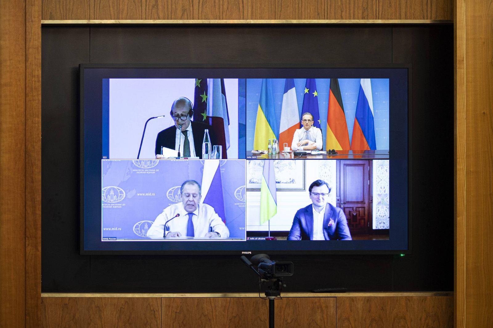 Heiko Maas, Bundesaussenminister, aufgenommen im Rahmen einer Videokonferenz im N4-Format (Normandie-Format) mit den Au