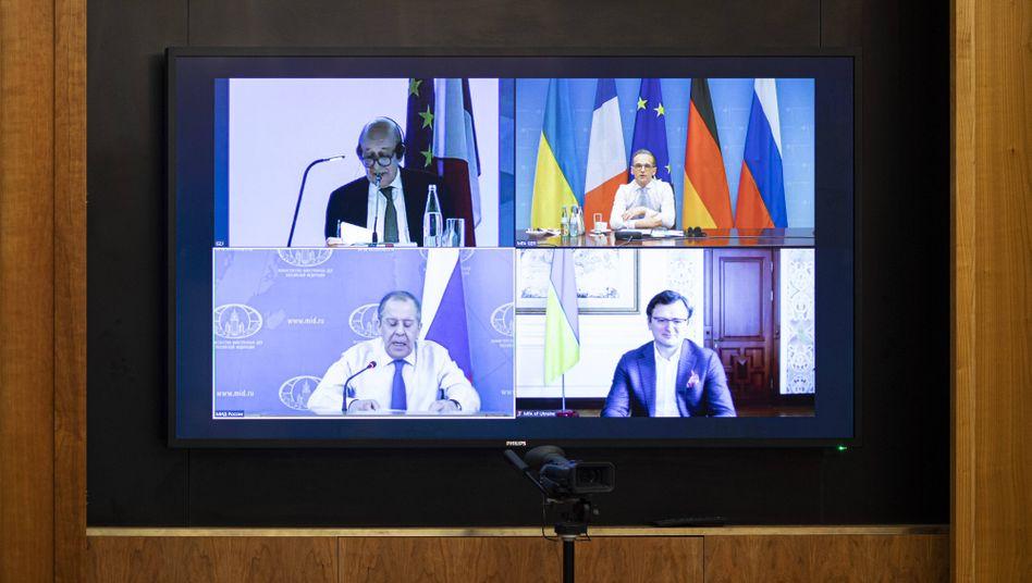 Außenminister Maas während einer Videokonferenz