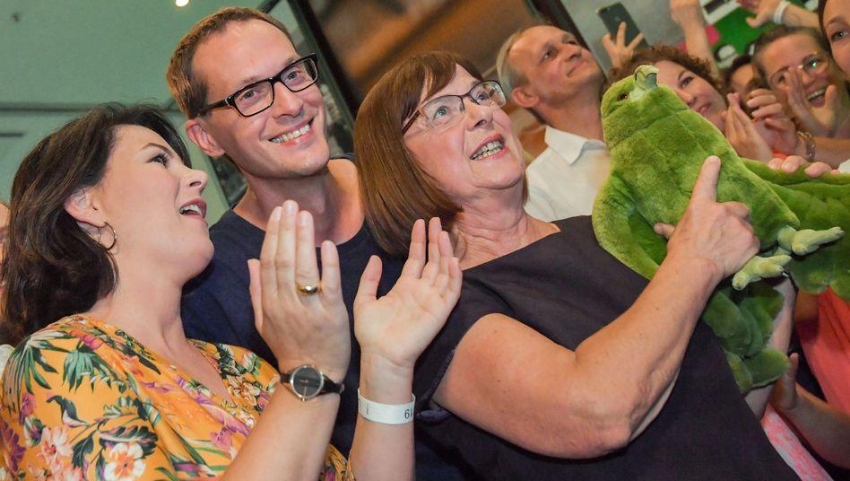 Annalena Baerbock, Bundesvorsitzende von Bündnis 90/Die Grünen, Benjamin Raschke und Ursula Nonnemacher, Spitzenkandidaten in Brandenburg