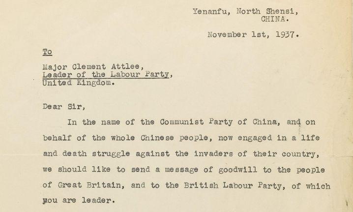 """Maos Bitte um Unterstützung durch die Briten: """"Das chinesische Volk im Kampf um Leben und Tod"""""""