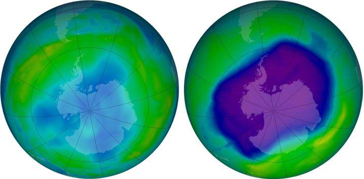 Entwicklung des Ozonlochs über der Antarktis während des Sommers 2013. Im Juni (links) wird es sichtbar, im September (rechts) ist es meist am größten.
