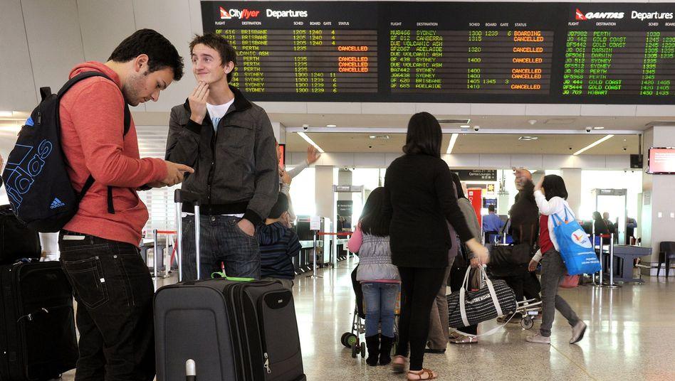 Gestrandet in Melbourne: Allein am Dienstag strich Quantas 200 Flüge