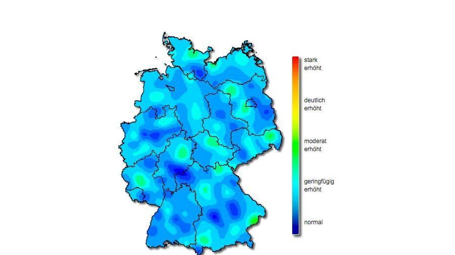 Verbreitung akuter Atemwegserkrankungen in Deutschland, die Daten werden auf Basis der Meldung von Arztpraxen erhoben