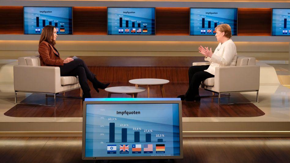 Angela Merkel am 28. März bei Anne Will
