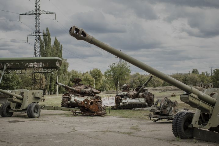 Destroyed weapons of war in Luhansk