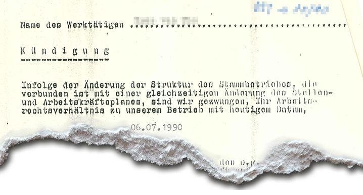 Kündigungsschreiben der Arbeitsstätte aus dem Jahr 1990