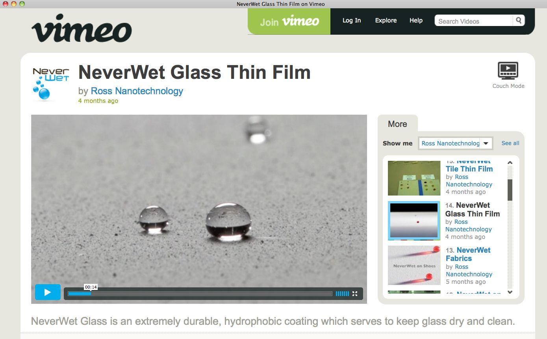 EINMALIGE VERWENDUNG NeverWet Glass / Vimeo SCREENSHOT