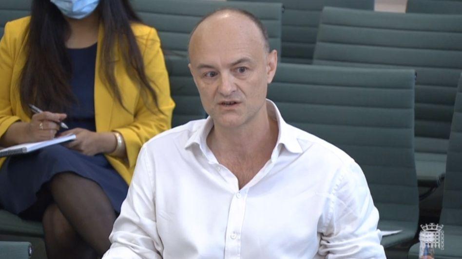 Der frühere britische Regierungsberater Dominic Cummings bei der Anhörung im Unterhaus