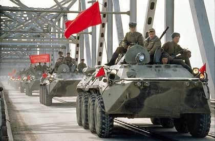 The withdrawal of the last Russian regiment in Afghanistan