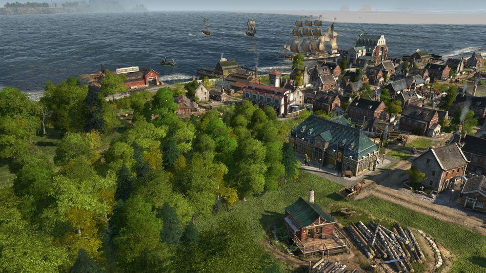 """""""Anno 1800"""": Auf einer Insel werden Siedlungen errichtet, die später zu Städten werden (hier finden Sie unseren Test zum Spiel)"""