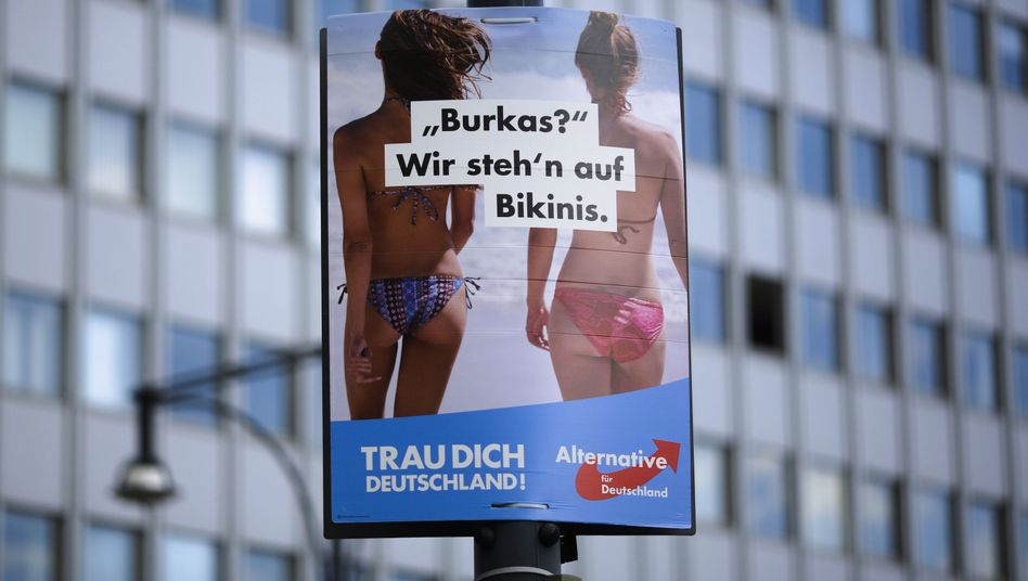 "An AfD ad in Berlin: ""Burkas? We like bikinis."""