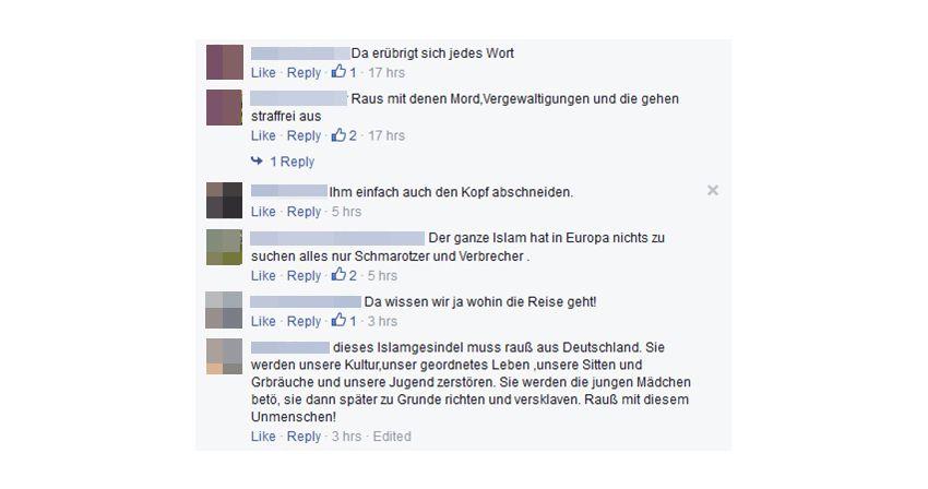NUR ALS ZITAT Screenshot Facebook/ Hasskommentare