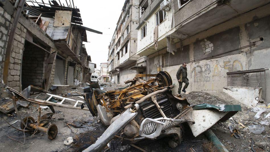 Teile der Stadt Stepanakert in Bergkarabach, zerstört durch den Beschuss aserbaidschanischer Artillerie