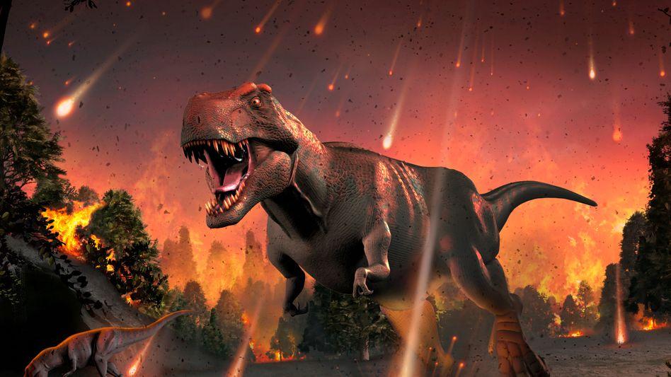 Dinosaurier bei Meteoritenschauer am Ende der Kreidezeit (Illustration)