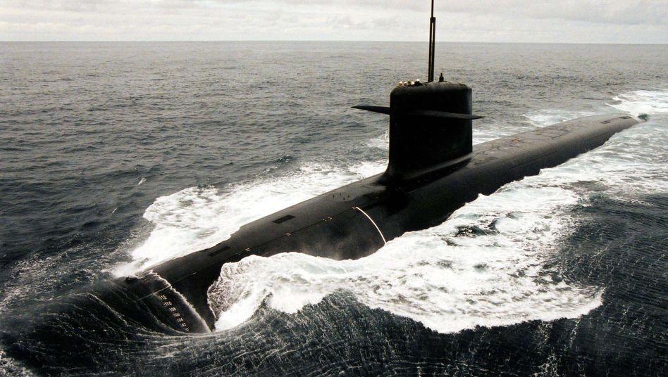 A French nuclear submarine on patrol.