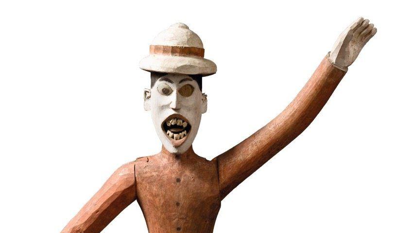 Gespiegelt: Einheimische Künstler porträtierten die Kolonialisten: weißer Herr (Nikobaren, um 1900)