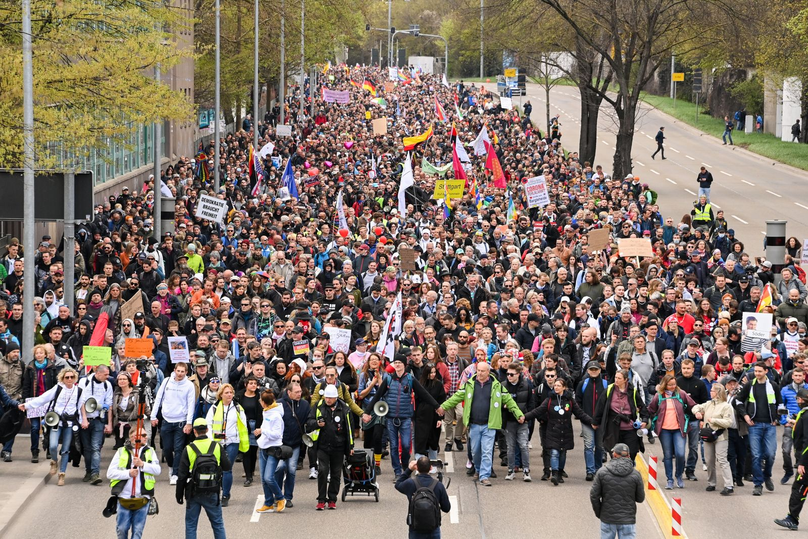 Demonstrations against COVID-19 restrictions in Stuttgart