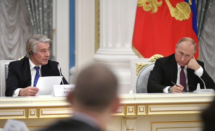 Wolfgang Büchele bei einem Treffen mit Putin im November 2018
