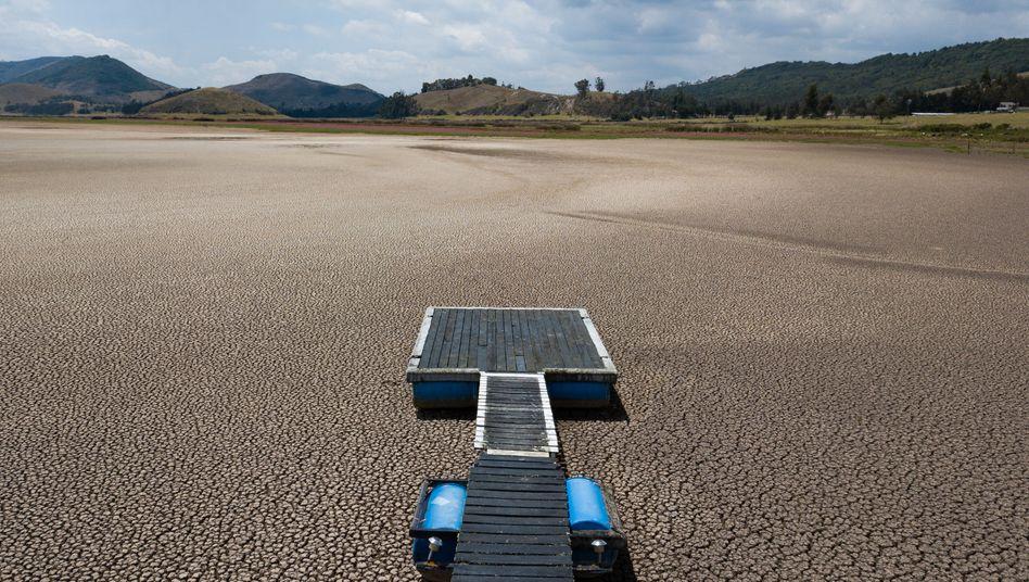 Im Februar 2021 teils ausgetrockneter Suesca-See in Kolumbien