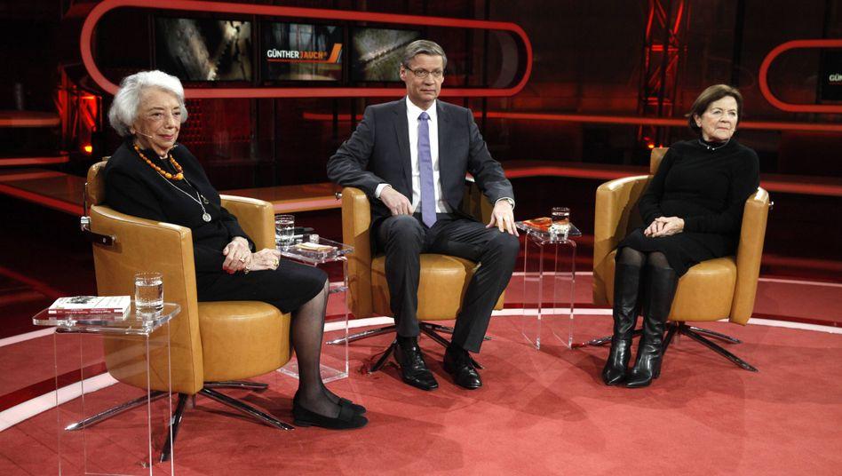 """Margot Friedländer (l.) und Eva Erben bei Jauch: """"Nichts ist normal"""""""