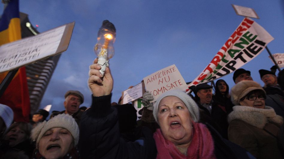 Demonstranten in Bukarest: Protest gegen die Regierungspolitik