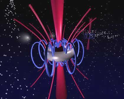 Energie aus dem Donut: Gammablitze könnten, so ein neues Modell, beim Zusammenspiel eines Schwarzen Lochs und eines stellaren Trümmerrings entstehen