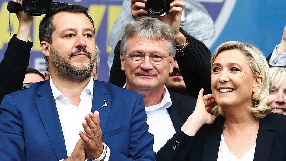 Politiker Salvini, Meuthen, Le Pen: Das Misstrauen sitzt tief