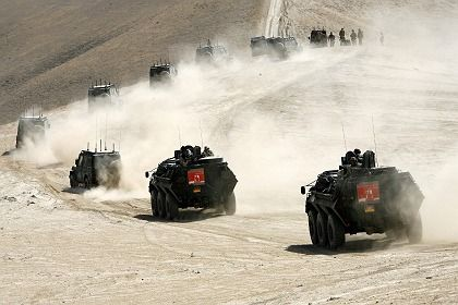 Soliders of the German Quick Reaction Force train in Afghanistan's Marmal mountains.