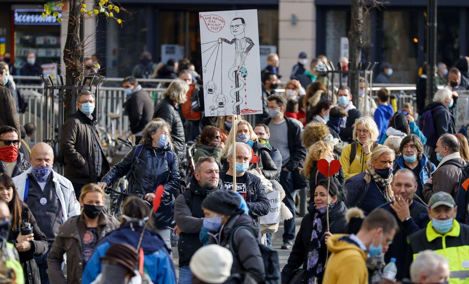 Demonstration against coronavirus restrictions in Frankfurt, Frankfurt Am Main, Germany - 14 Nov 2020