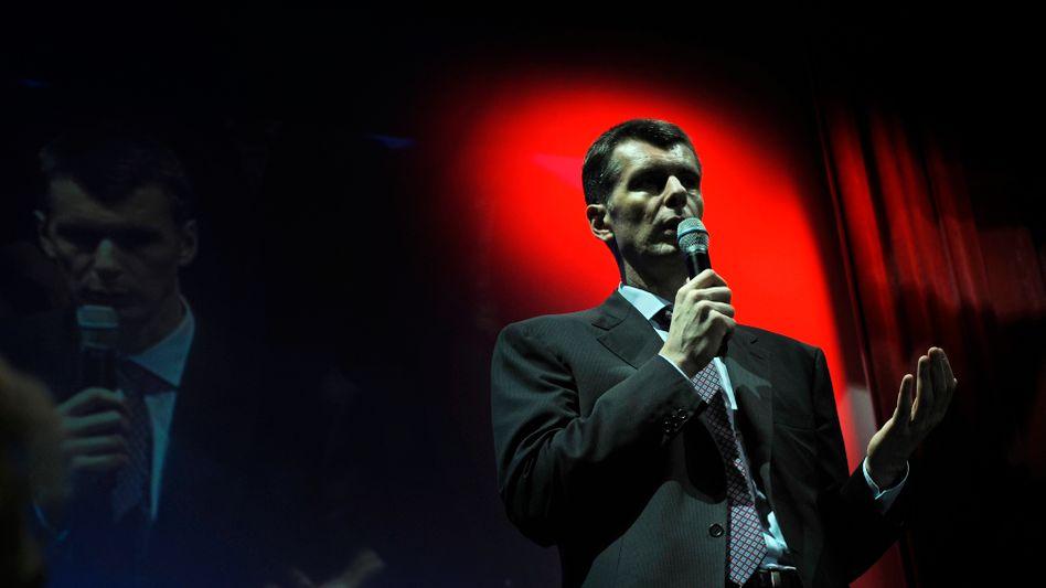 Russian billionaire Mikhail Prokhorov would like to take over for Dmitry Medvedev.
