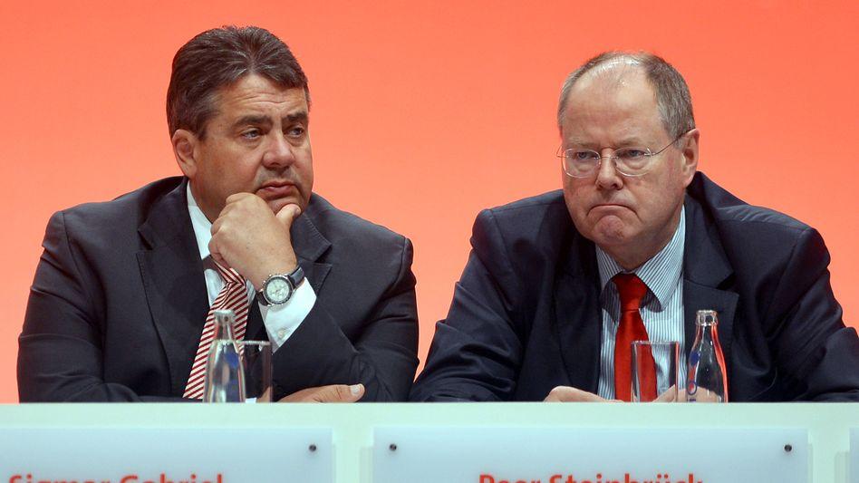 """SPD-Politiker Gabriel, Steinbrück: """"Es hat gerummst"""""""