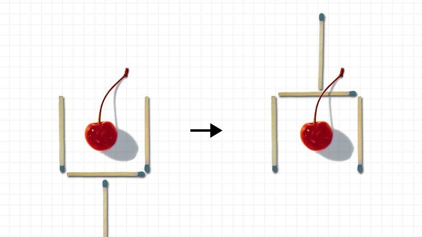 Streichholzaufgabe: Die Kirsche soll nach dem Umlegen von zwei Hölzern nicht mehr im Glas sein. Das Beispiel hier zeigt eine falsche Lösung. Zwar ist das Glas nach dem Umlegen noch da, doch die Kirsche befindet sich nach wie vor darin.