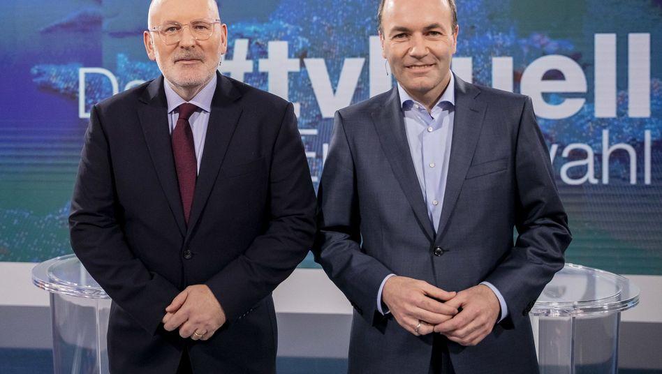 Frans Timmermans (l.) und Manfred Weber beim TV-Duell zur Europawahl