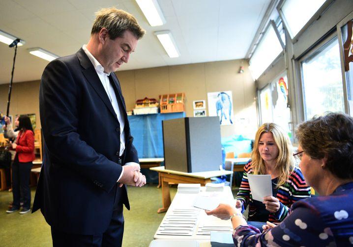Ministerpräsident Markus Söder vor der Stimmabgabe