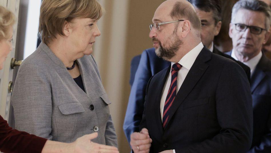 Parteichefs Angela Merkel (CDU), Martin Schulz (SPD)