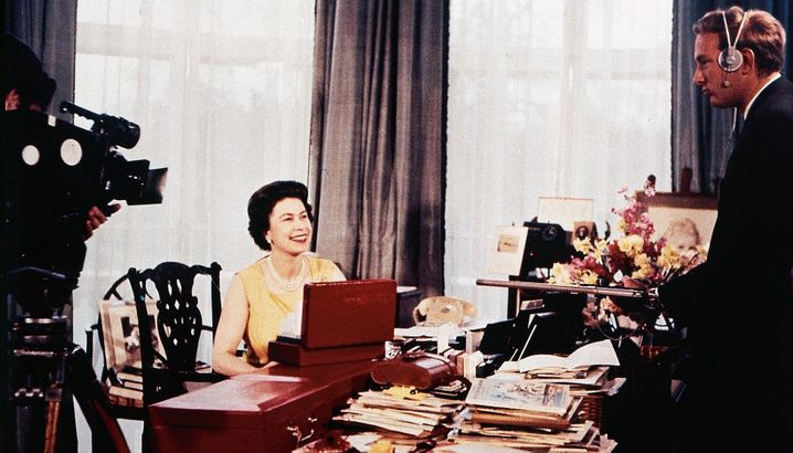"""Queen Elizabeth II during the filming of the 1969 BBC documentary """"Royal Family."""""""