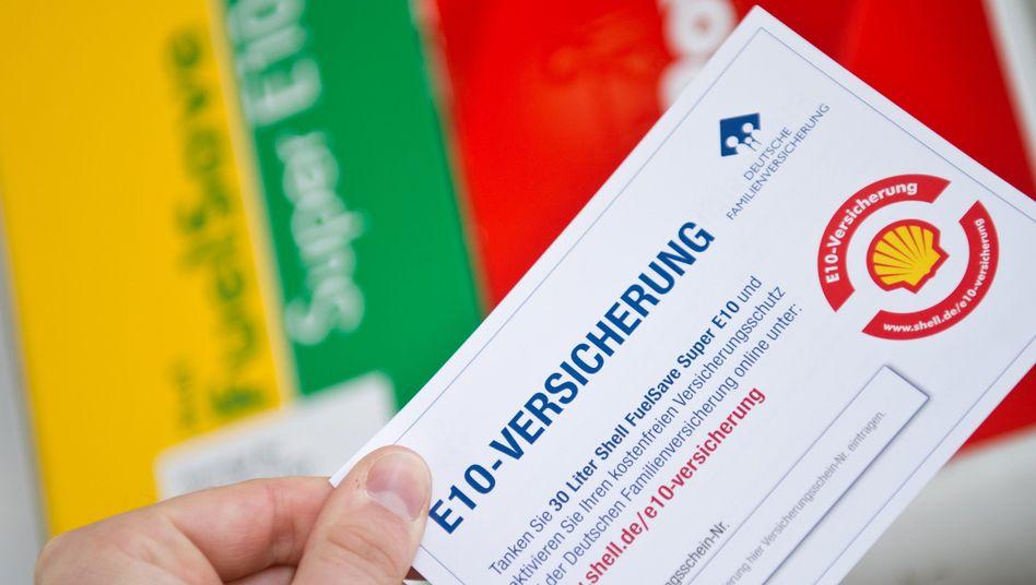 Werbeblatt für E10-Versicherung: Reiner Marketing-Gag