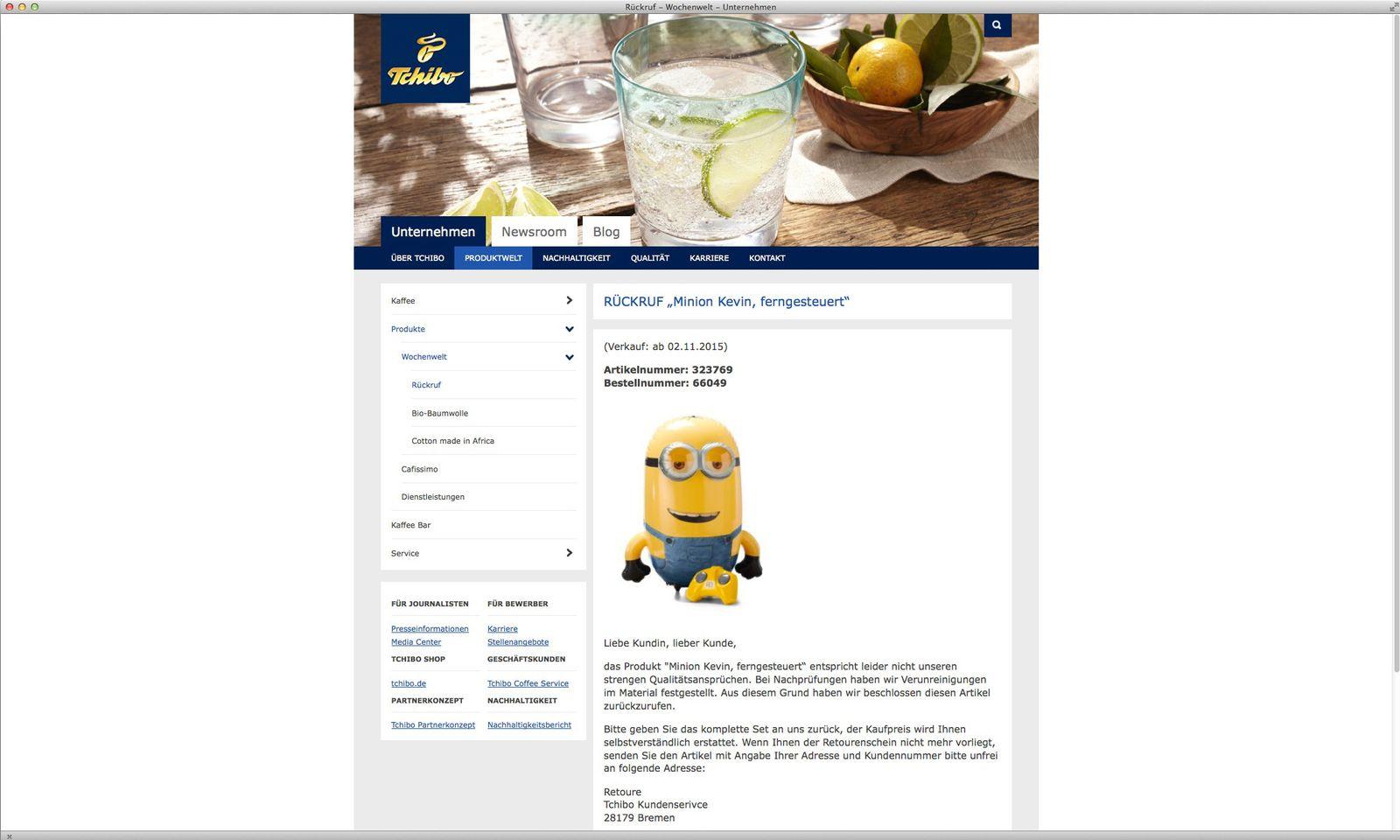 EINMALIGE VERWENDUNG NUR ALS ZITAT Screenshot/ Tchibo Rückruf/ Minion