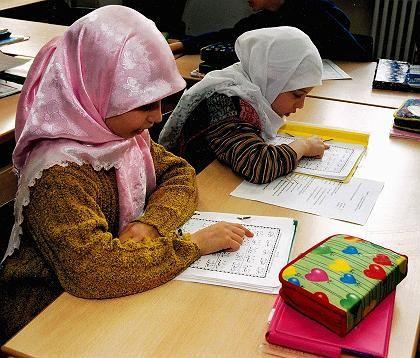 Students in class at an Islamic school in Berlin.