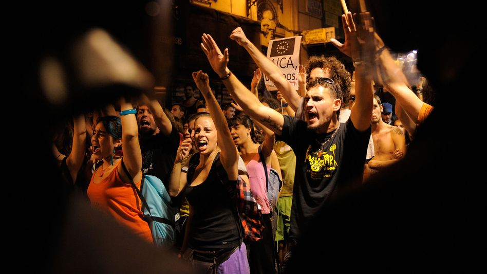 Young people in Spain at an August protest: One in five Europeans under the age of 25 are jobless.