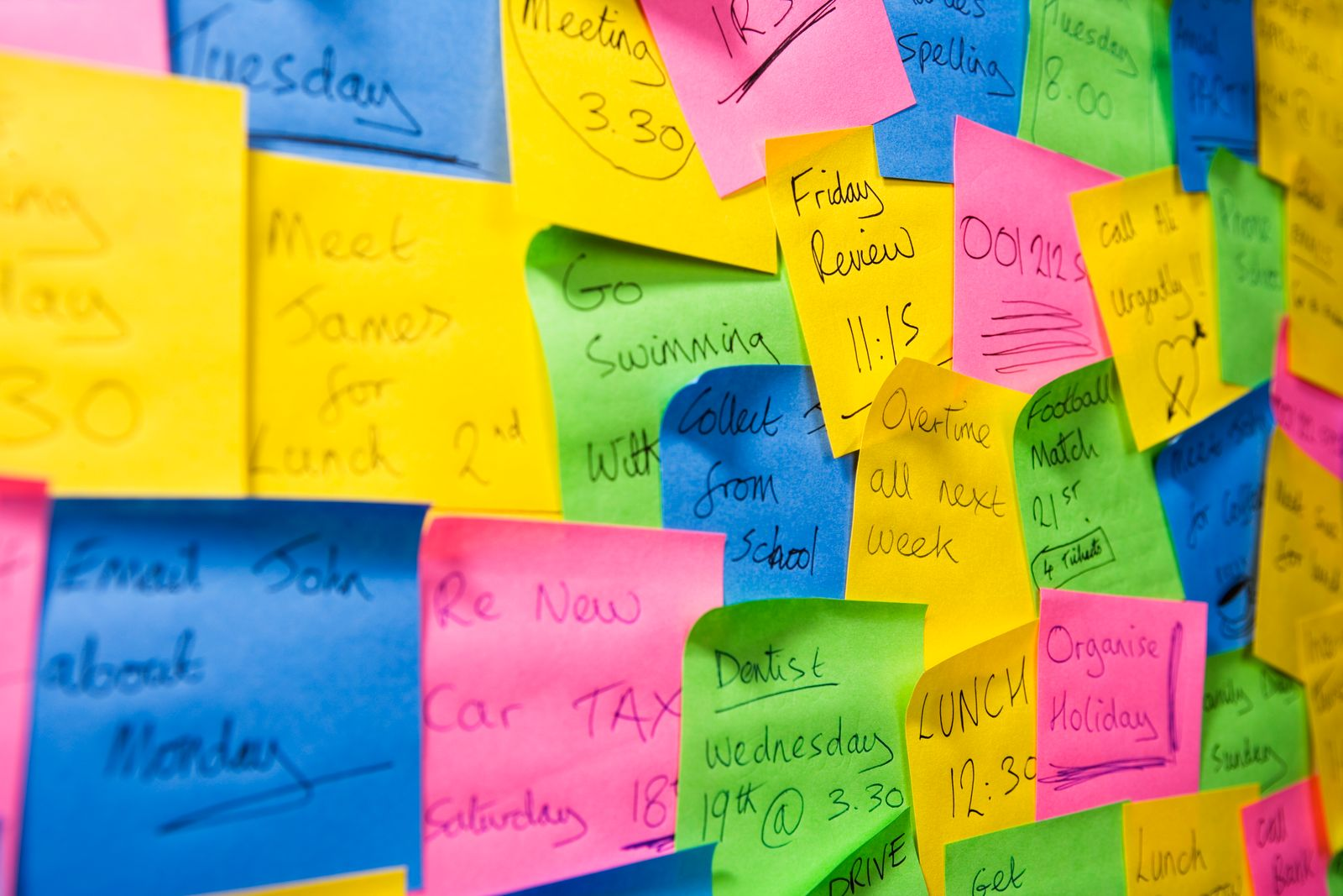 An assortment of colourful post it notes