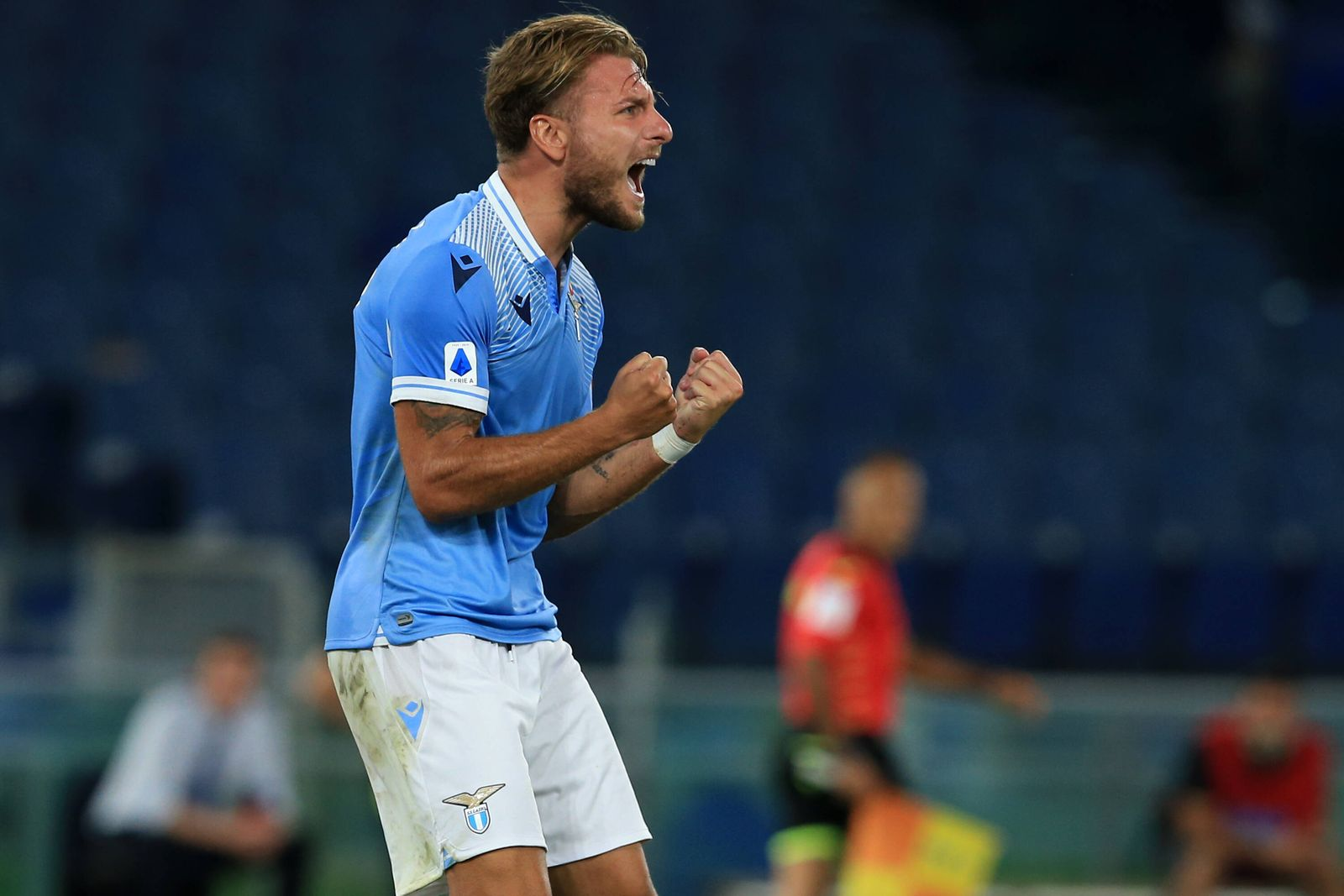 Italy: Serie A : SS Lazio beat Brescia Calcio Ciro Immobile (Lazio) celebrates after scoring a goal during the Serie A